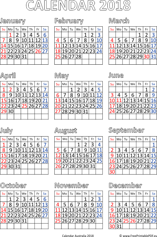 Calendar for Year 2018 Australia | Free Printable PDF