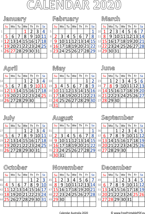 picture regarding Calendar 2020 Printable known as Calendar 2020 Australia printable pdf Free of charge Printable PDF