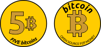 Coin of 5 Bitcoins gold clipart