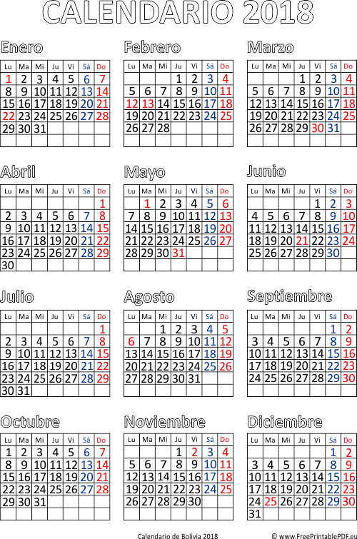 Calendario 2019 Honduras