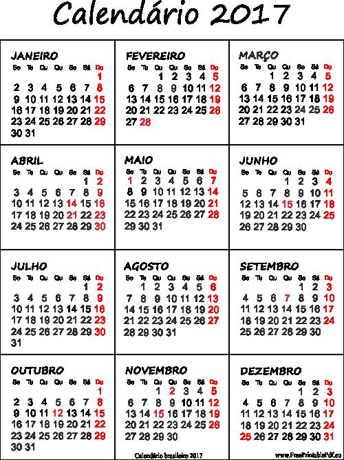 Calendarios 2018 Com Feriados