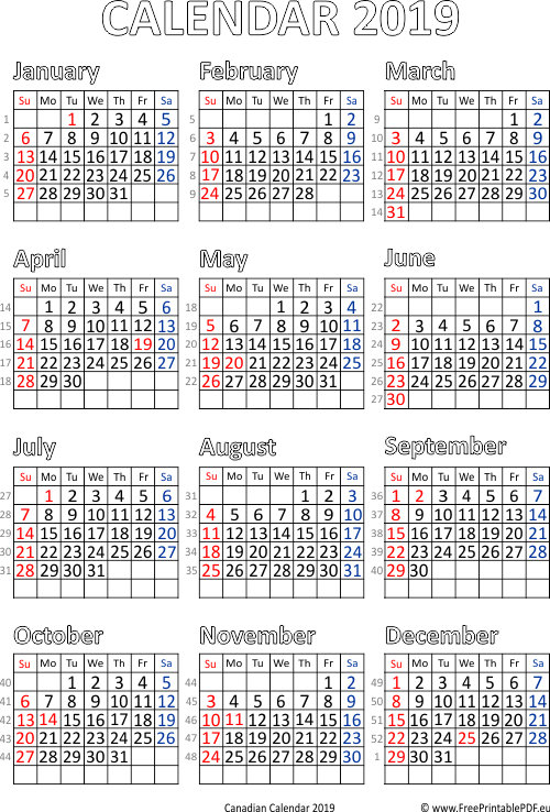 printable 2019 calendar with holidays