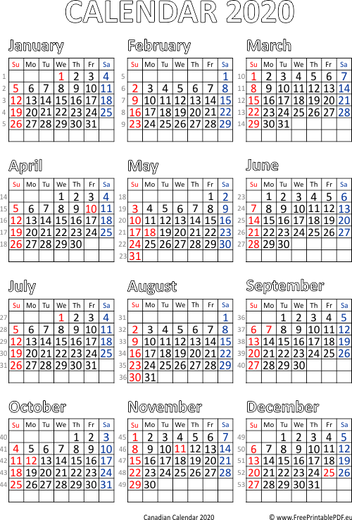 graphic regarding Free Printable 2020 Calendar With Holidays identified as Calendar 2020 Canada printable pdf No cost Printable PDF