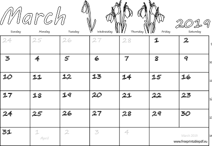 Printable Calendar March 2019.March 2019 Usa Calendar Free Printable Pdf