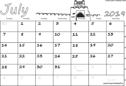 photograph about Free Printable July Calendar identified as July 2019 Australia Calendar Totally free Printable PDF