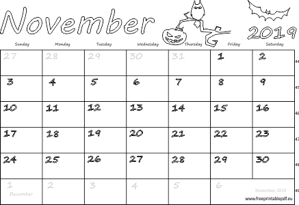 image about Free Printable November Calendar referred to as November 2019 Australia Calendar Cost-free Printable PDF