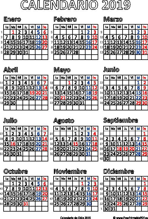 Calendario Del 2018 Chile