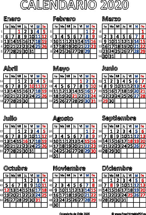Calendario Junio 2020 Pdf.Calendario De Chile 2020 Imprimir El Pdf Gratis