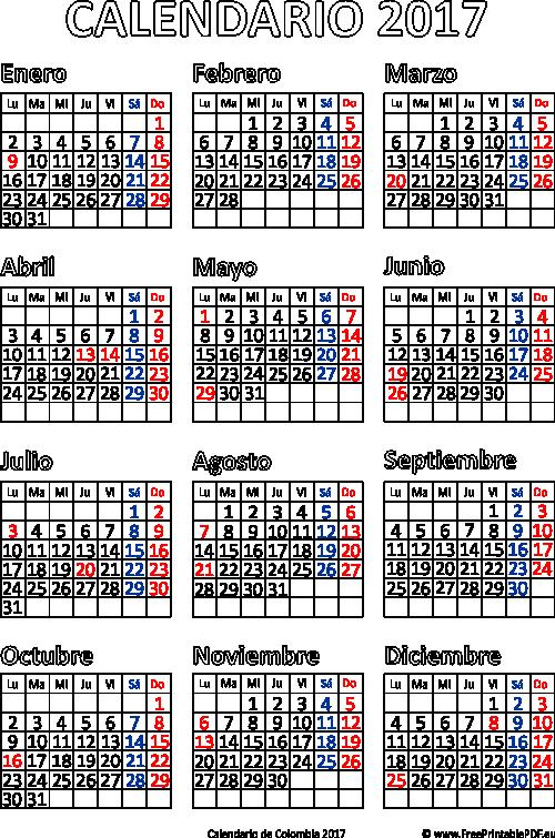 Calendario 2017 Colombia.Calendario 1993 Colombia Festivos