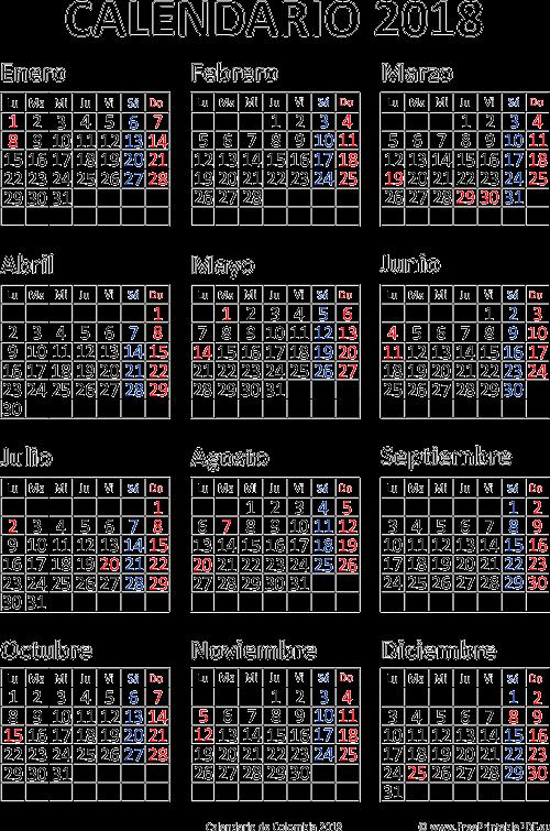 Calendario Colombia 2019 Para Imprimir.Calendario De Colombia 2018 Imprimir El Pdf Gratis
