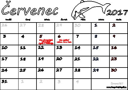 kalendar cervenec Kalendář Červenec 2017 k vytisknutí pdf | Soubory PDF zdarma pro tisk kalendar cervenec