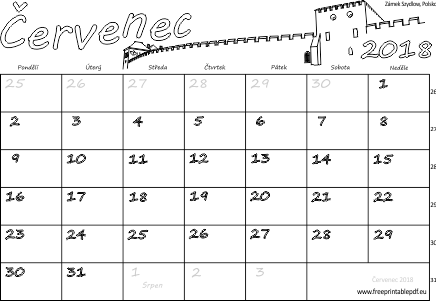 kalendar cervenec Kalendář k tisku Červenec 2018 | Soubory PDF zdarma pro tisk kalendar cervenec