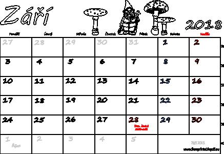 kalendar zari Kalendář k tisku Září 2018 | Soubory PDF zdarma pro tisk kalendar zari