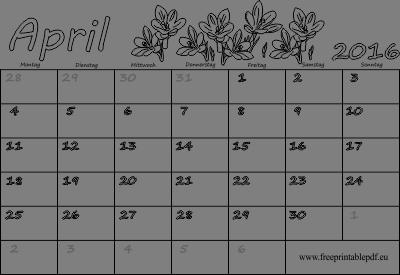 Monatskalender April 2016 | PDF Drucken Kostenlos