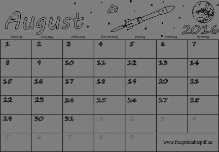 August 2016 Kalender