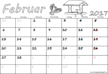 Februar 2017 Kalender mit