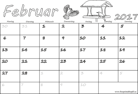 Februar 2017 Kalender völlig