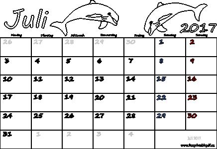 Monatskalender Juli 2017 Ausdrucken | PDF Drucken Kostenlos