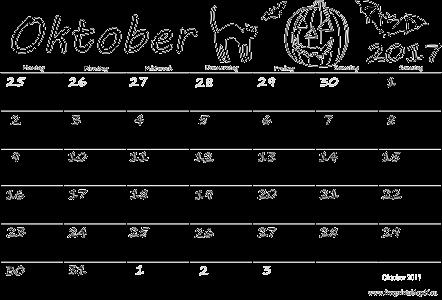 Monatskalender Oktober 2017 Ausdrucken | PDF Drucken Kostenlos