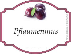 Etiketten für Pflaumenmus | PDF Drucken Kostenlos