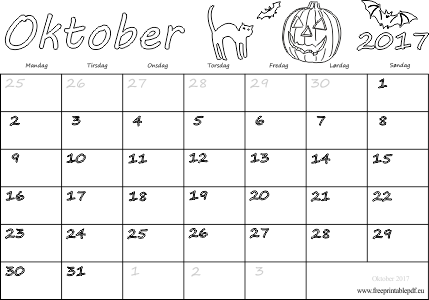 Kalender for oktober måned 2017 downloade