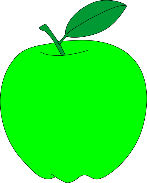 green apple with green leaf free vector clipart