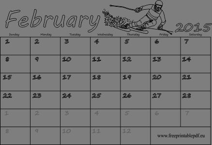 Blank Calendar February 2015