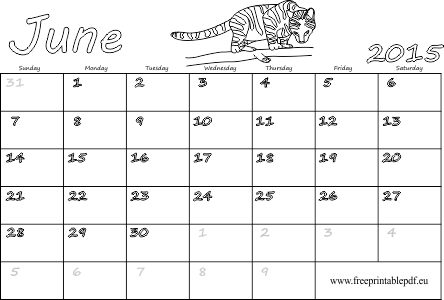 June 2015 printable calendar for kids