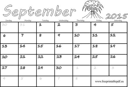 september 2015 printable calendar blank