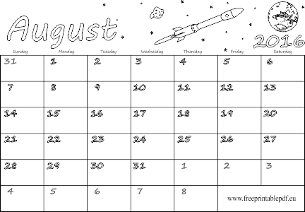 picture regarding Printable August Calendar Pdf identified as August 2016 blank calendar Free of charge Printable PDF