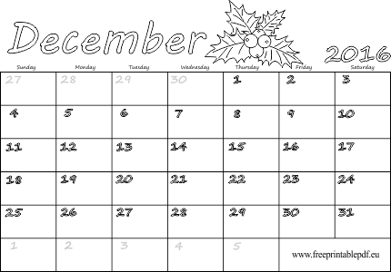 photograph about Printable Dec Calendar called December 2016 calendar blank printable Cost-free Printable PDF