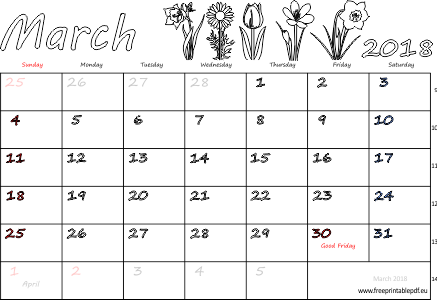 image regarding Calendar Printable With Holidays referred to as March 2018 regular monthly calendar (blank, US United kingdom) Absolutely free