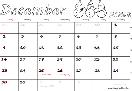 photo regarding Printable December Calendar called December 2018 regular monthly calendar (blank, US British isles) Free of charge