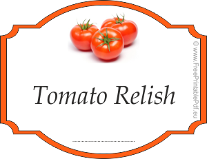 Homemade labels for Tomato Relish