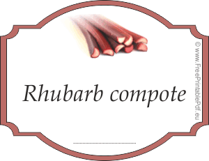 Rhubarb compote label for jars