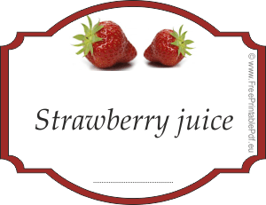 Strawberry juice label for jars and bottles