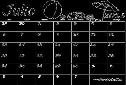 Julio 2015 calendario en blanco para imprimir y colorear | Imprimir ...
