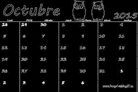 Octubre 2015 calendario en blanco blanco y negro | Imprimir el PDF ...