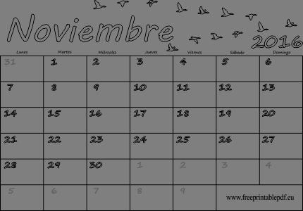 Calendario 2016 de Noviembre de blanco | Imprimir el PDF Gratis