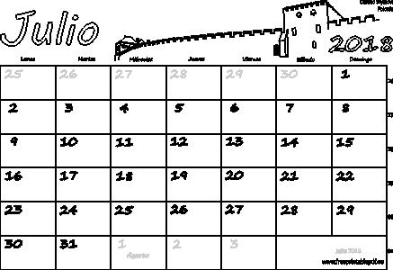Julio Calendario.Calendario Julio 2018 Para Imprimir Imprimir El Pdf Gratis