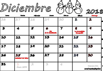 Calendario Diciembre 2018 Con Festivos.Calendario Diciembre 2018 Para Imprimir Imprimir El Pdf Gratis