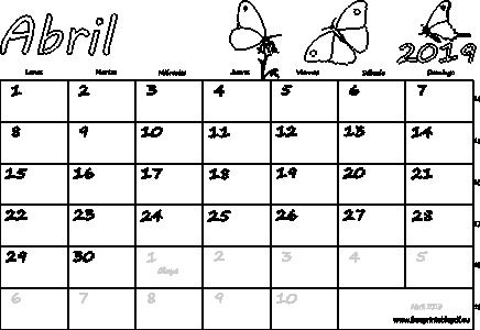 Calendario Junio 2019 Para Imprimir Pdf.Calendario Abril 2019 Para Imprimir Imprimir El Pdf Gratis