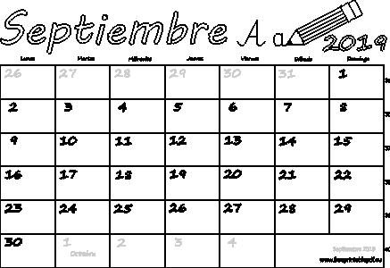 Calendario Septiembre 2019 Argentina Imprimir El Pdf Gratis