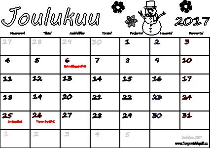Kalenteri joulukuu 2017 tulostettava | Ilmainen tulostettava PDF