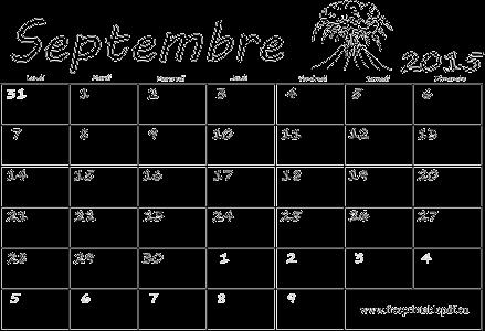 Septembre 2015 Calendrier Vierge Gratuit Pdf Imprimable