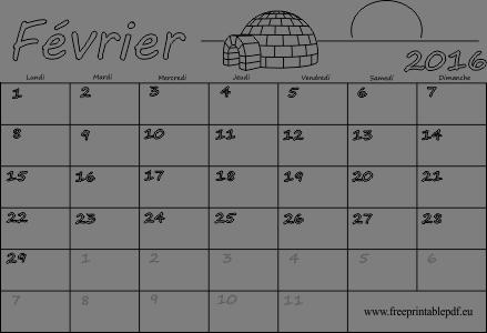 Février 2016 calendrier vierge, coloré   Gratuit PDF imprimable