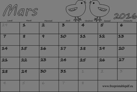 Mars 2016 calendrier vierge, fériés | Gratuit PDF imprimable