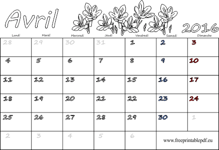 2016 calendrier vierge pour l'impression et la coloration | Gratuit ...