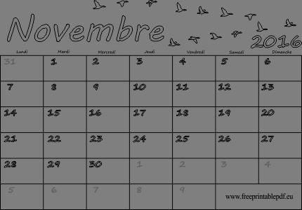 Novembre 2016 calendrier vierge pour l'impression et la coloration ...