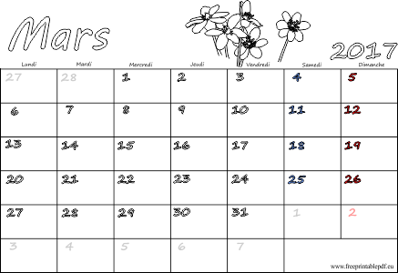 Mars 2017 Calendrier Vierge F Ri S Gratuit Pdf Imprimable